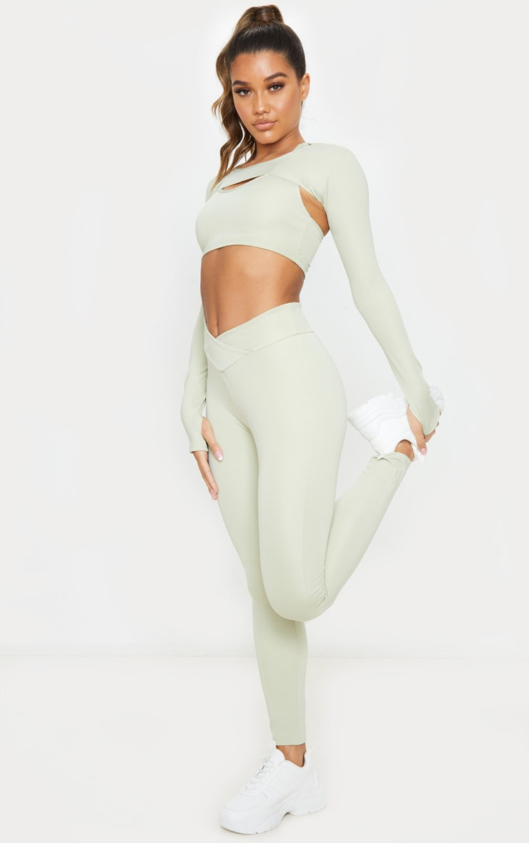 Sage Green V Front Gym Leggings 1