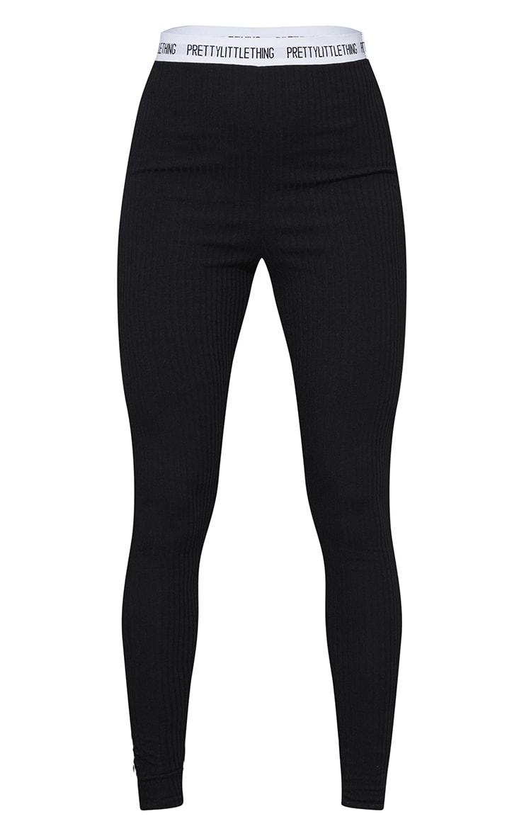 PRETTYLITTLETHING Black Soft Rib Leggings 5