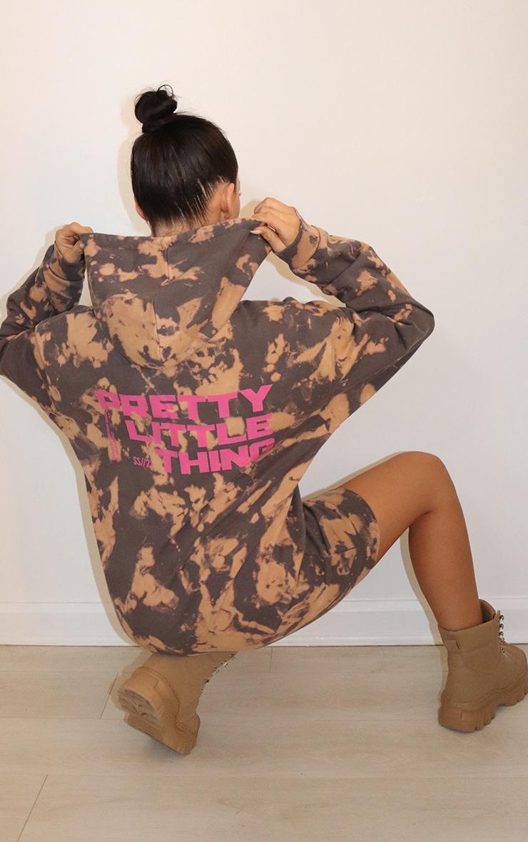 PRETTYLITTLETHING Charcoal Tie Dye Sweat Jumper Dress 1
