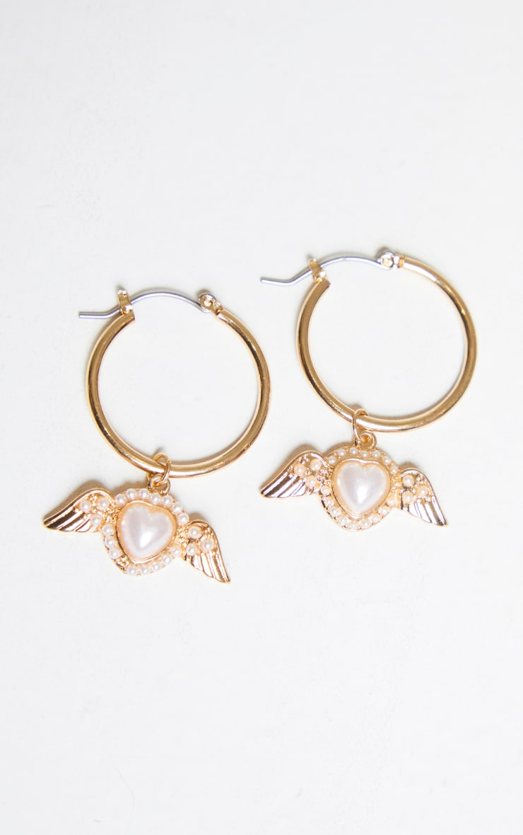 Gold Mini Pearl Wing Hoop Earrings 2
