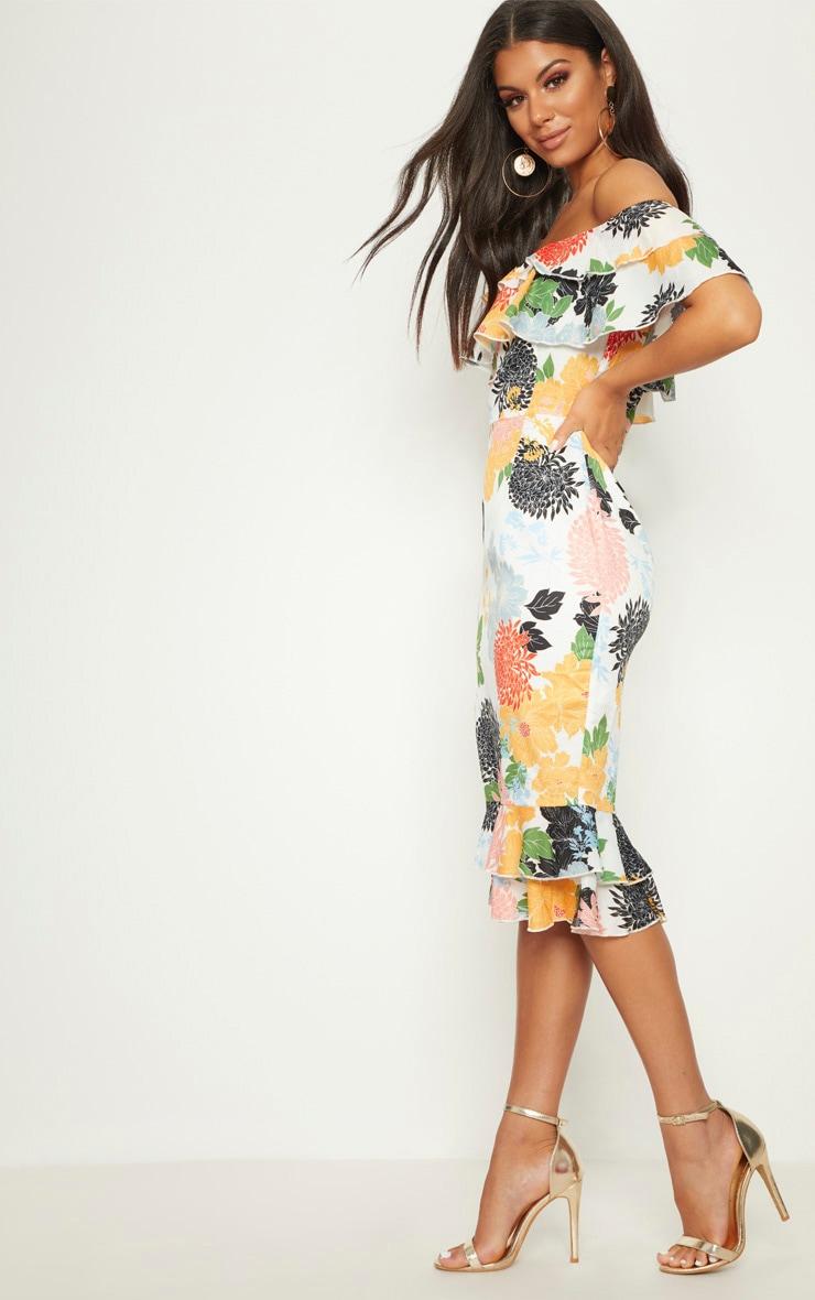 White Oriental Floral Print Frill Bardot Midi Dress  4