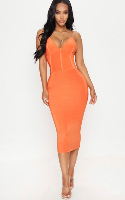 861abc1f62 Shape Orange Slinky Panelled Midi Dress PrettyLittleThing Sticker