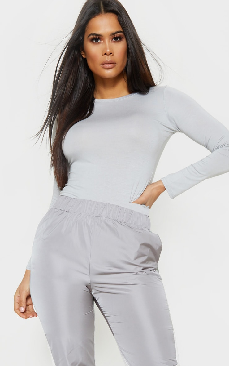 Basic Dove Grey Long Sleeve Fitted T Shirt  1