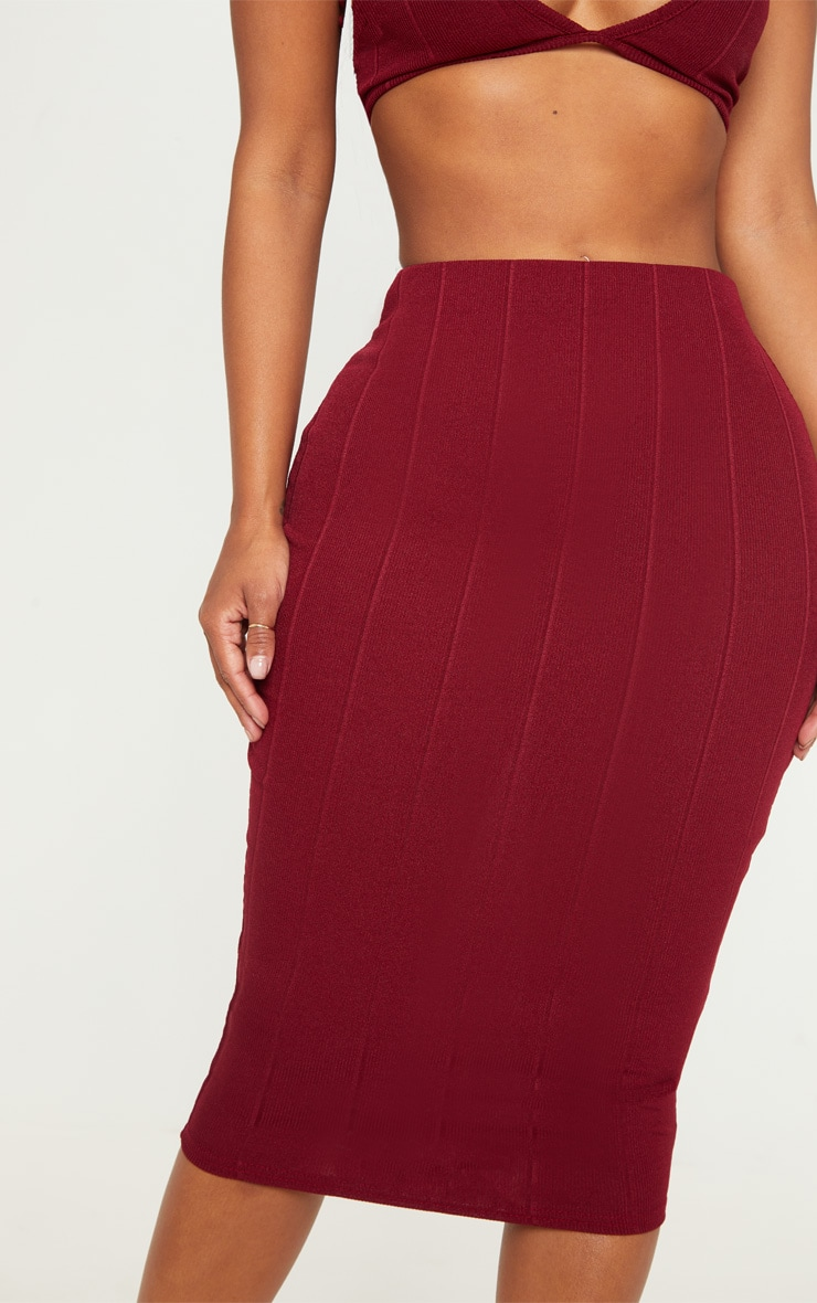 Shape Burgundy Bandage Midi Skirt 5