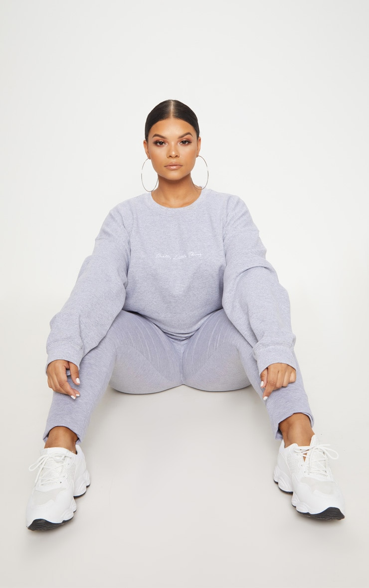 PLT Plus - Sweat oversize gris chiné PRETTYLITTLETHING 4