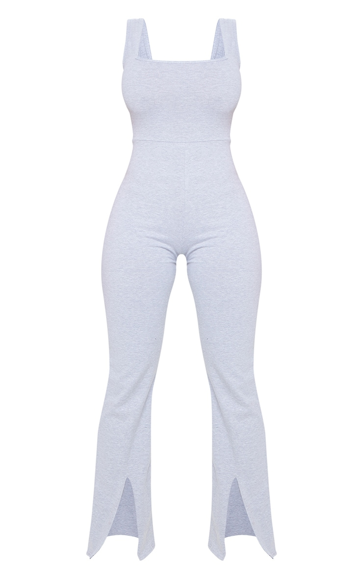 Shape Grey Cotton Square Neck Split Front Jumpsuit 5