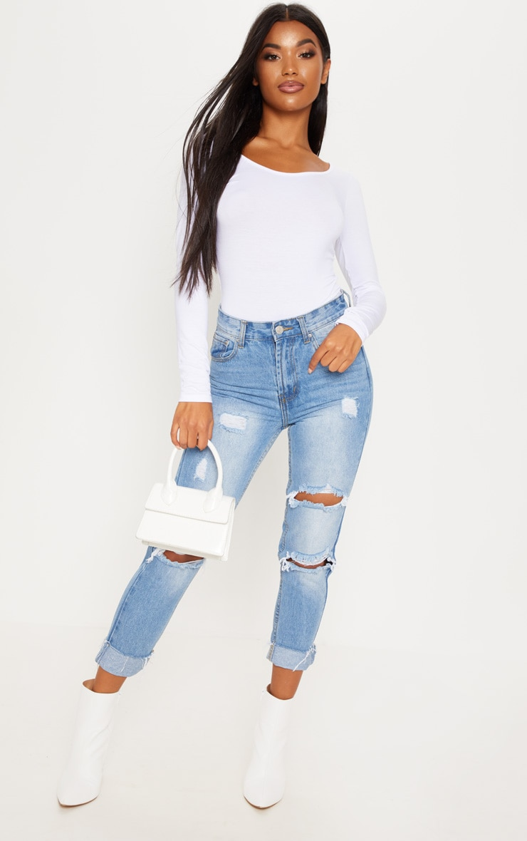 Basic White Scoop Back Long Sleeve Bodysuit 5