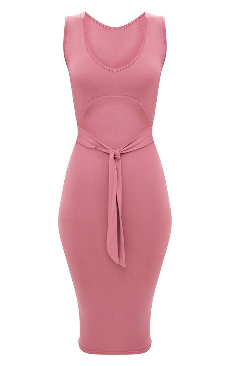 Rose Cut Out Tie Front Midi Dress 3