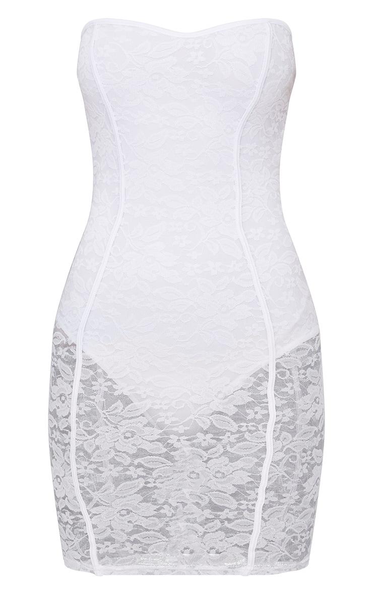 White Lace Bandeau Panelled Bodycon Dress 3