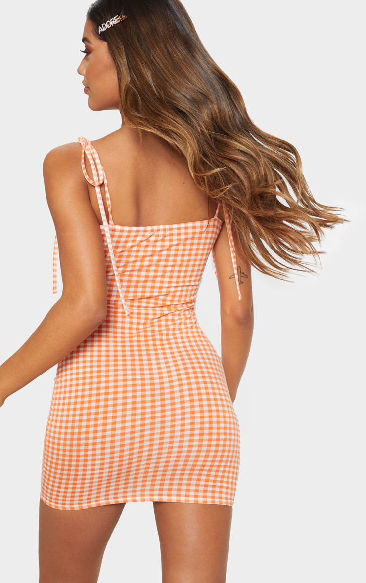 Orange Gingham Tie Shoulder Bodycon Dress 2