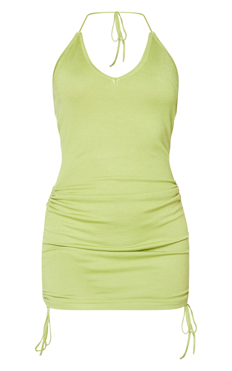 Green  Ruched V Neck Strappy Knitted Dress 5