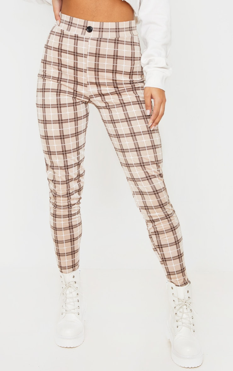 Stone Checked Cropped Skinny Pants 2