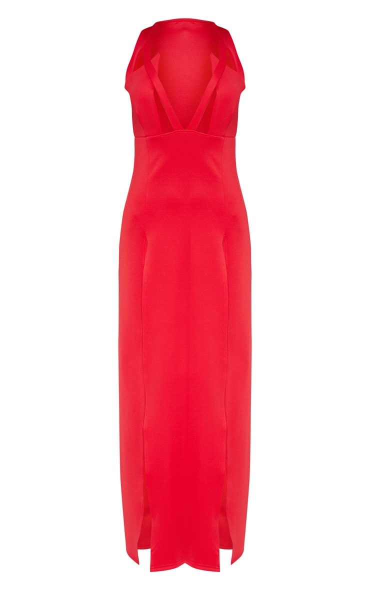Red Pointy Bust Detail Extreme Split Maxi Dress 3