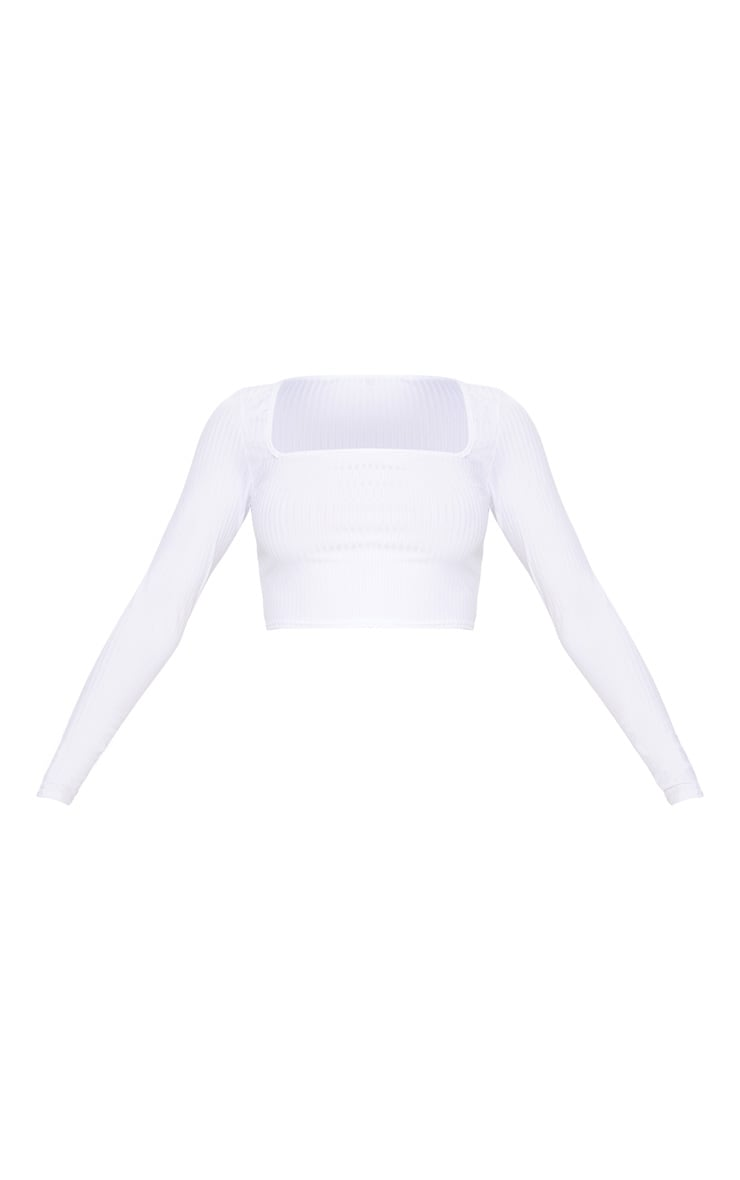 White Rib Square Neck Long Sleeve Crop Top 3