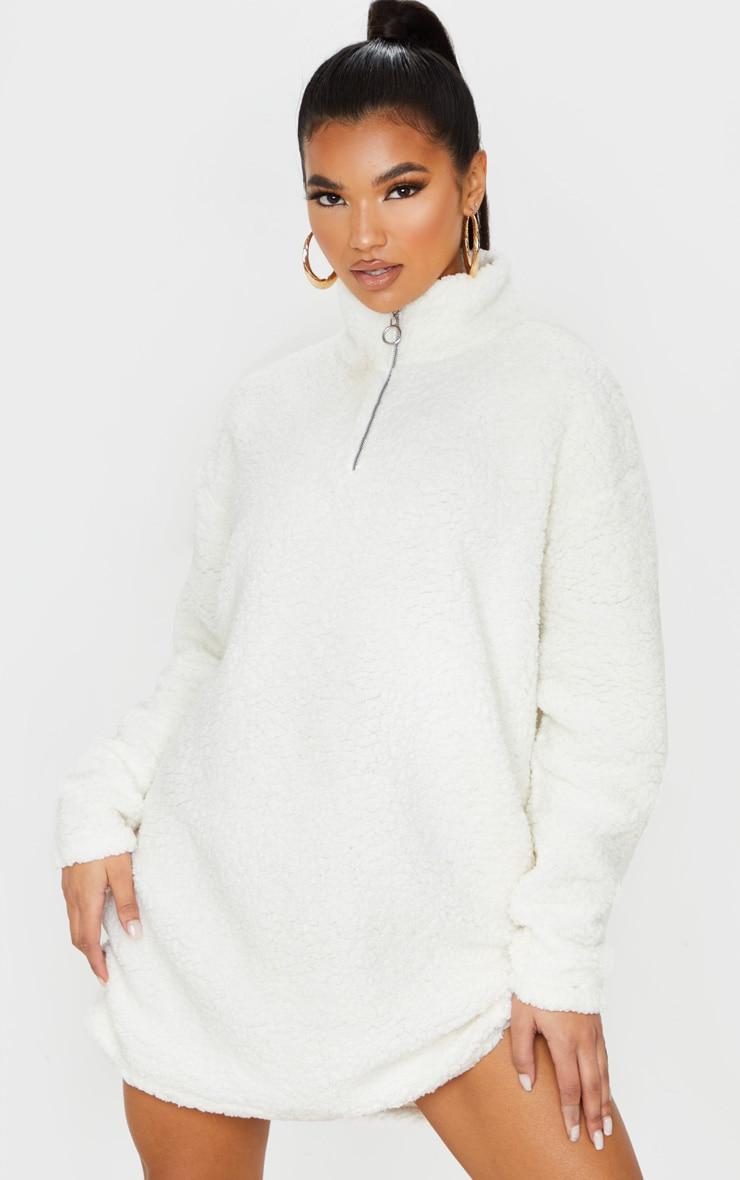 Cream Oversized Borg Zip Neck Jumper Dress 6