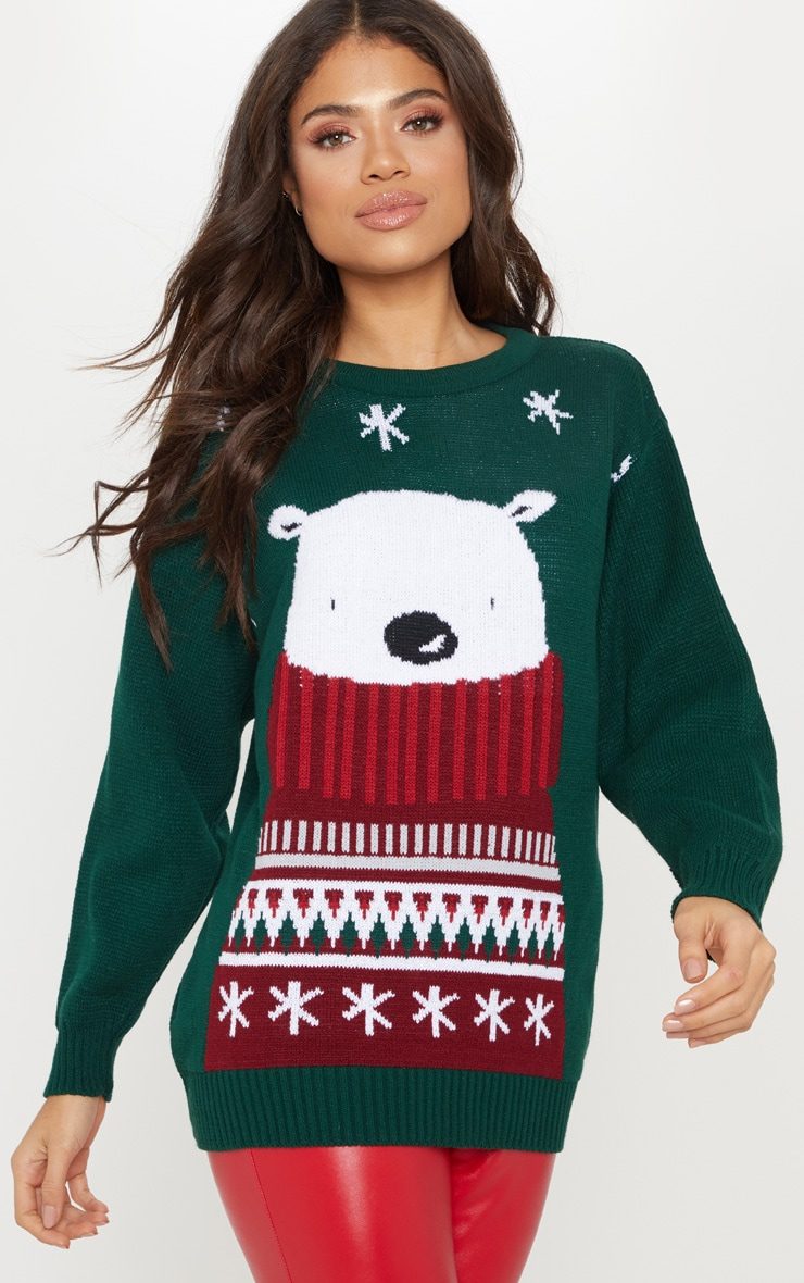 Polar Bear Bottle Green Knitted Sweater 1