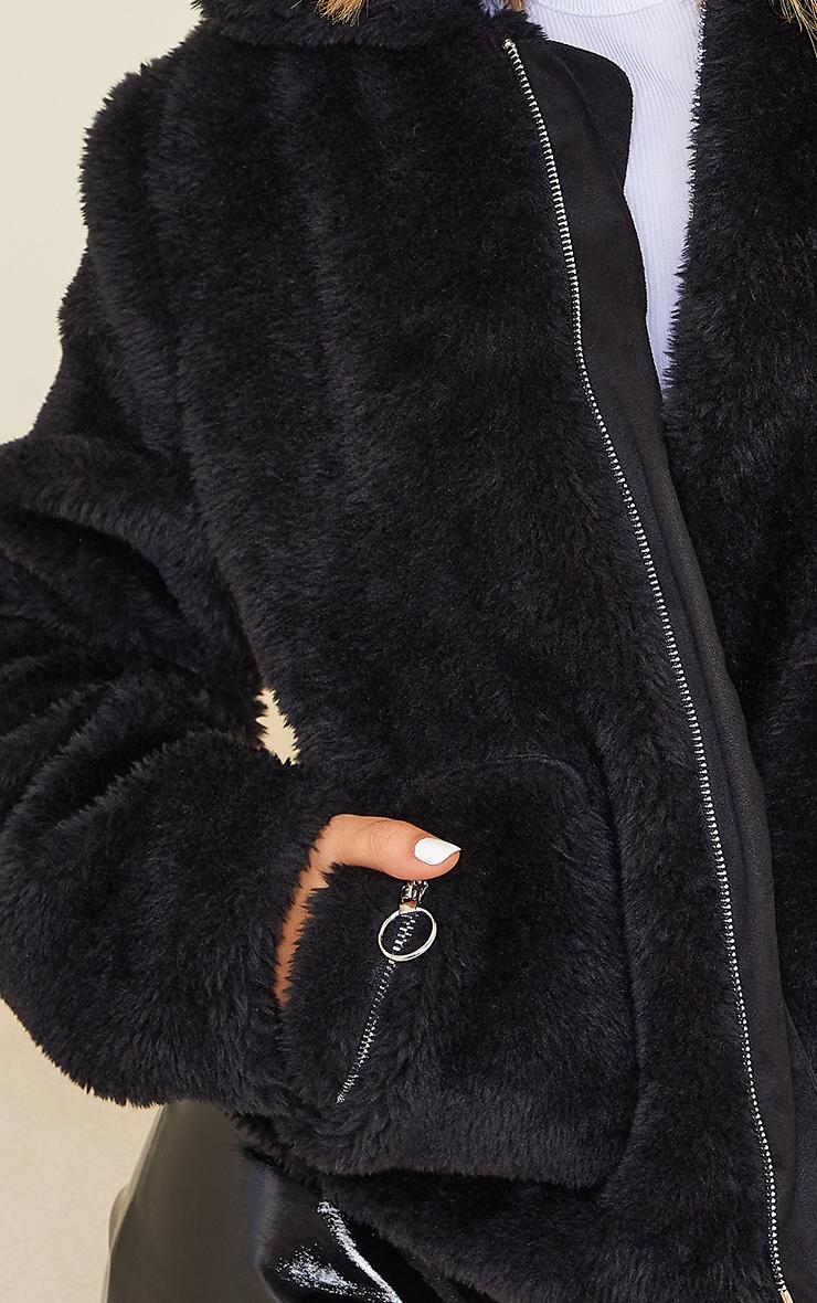 Black Teddy Faux Fur Pocket Front Jacket 4