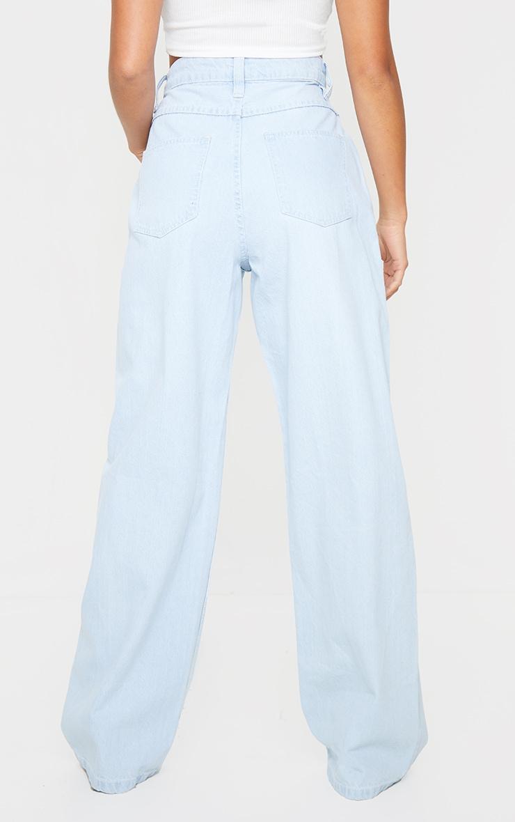 Petite Bleach Wash Extreme Wide Leg Jean 3