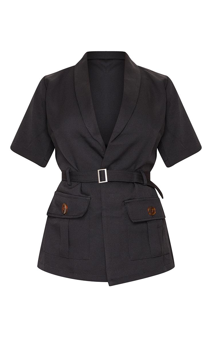Black Short Sleeve Belt Pocket Detail Blazer 5