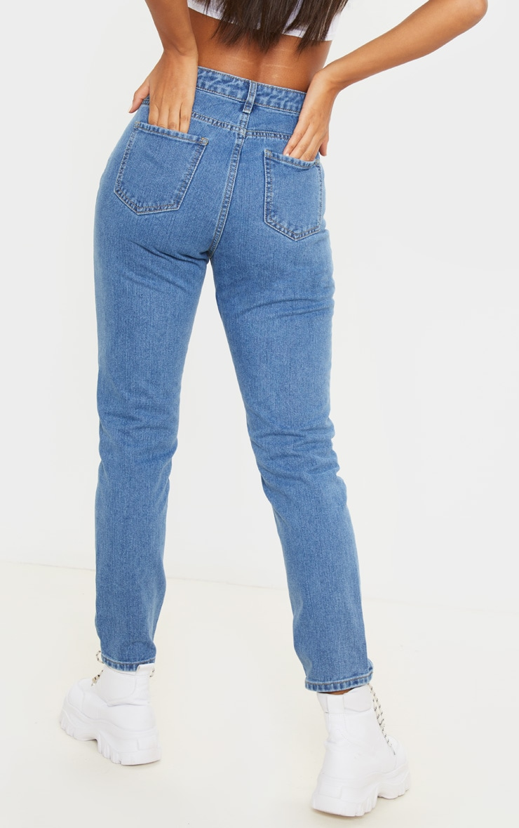 Mid Wash Seam Front Straight Leg Jeans  4