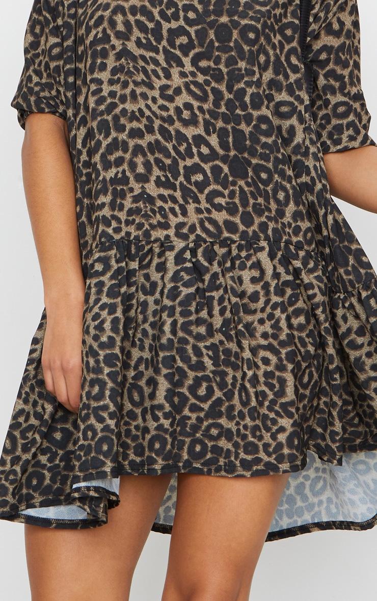 Brown Leopard Print Puff Sleeve Smock Dress 4