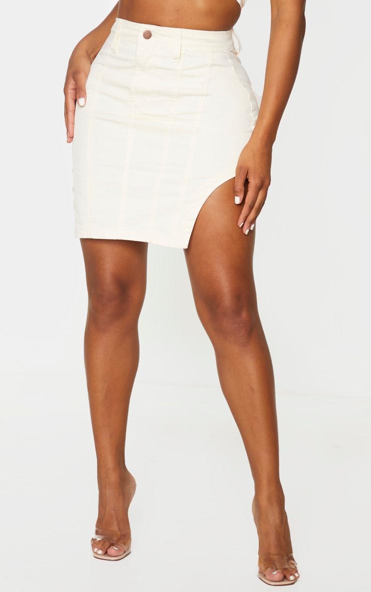Shape - Jupe en jean écru à ourlet arrondi détail coutures 2