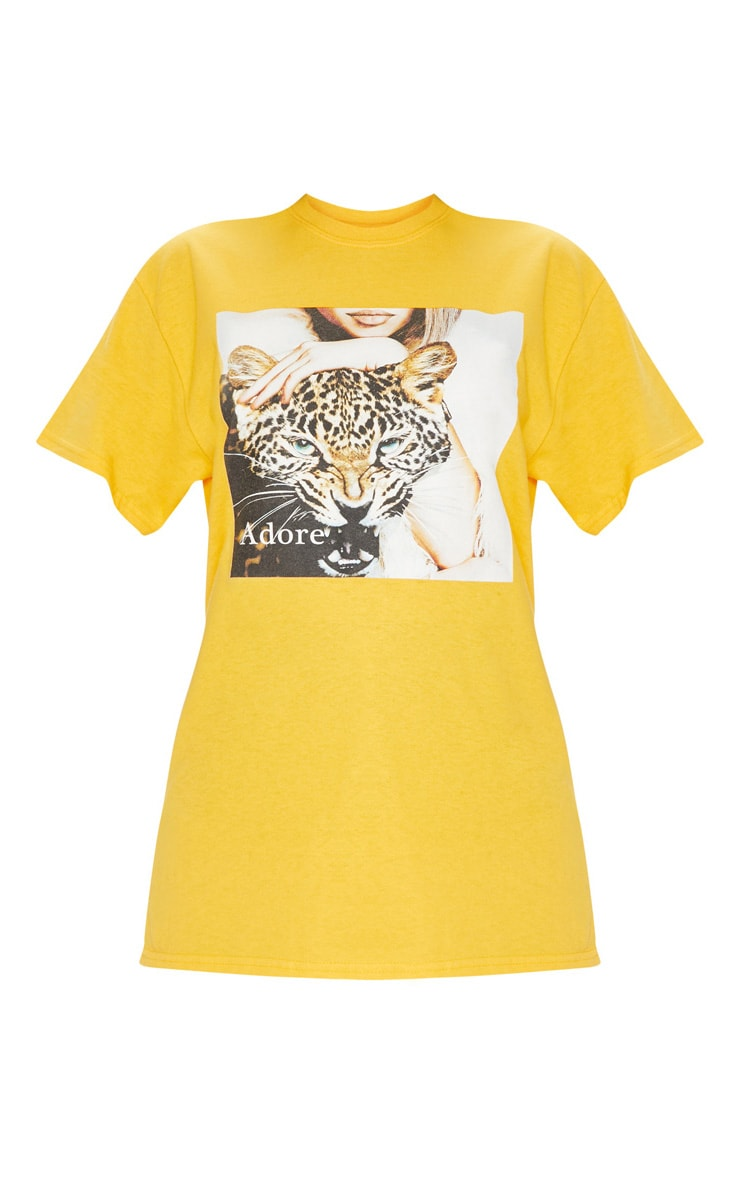 Yellow Adore Panther Oversized T shirt 3