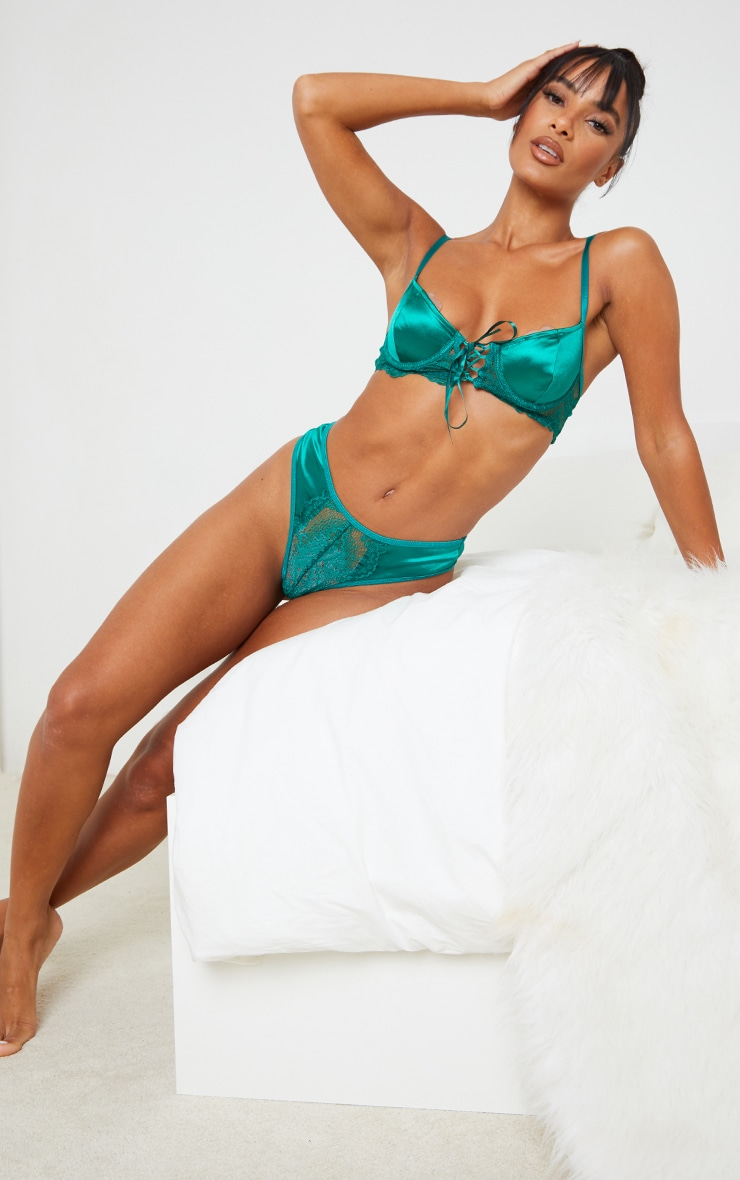 Emerald Green Underwired Lace Up Satin Lace Trim Bra 3