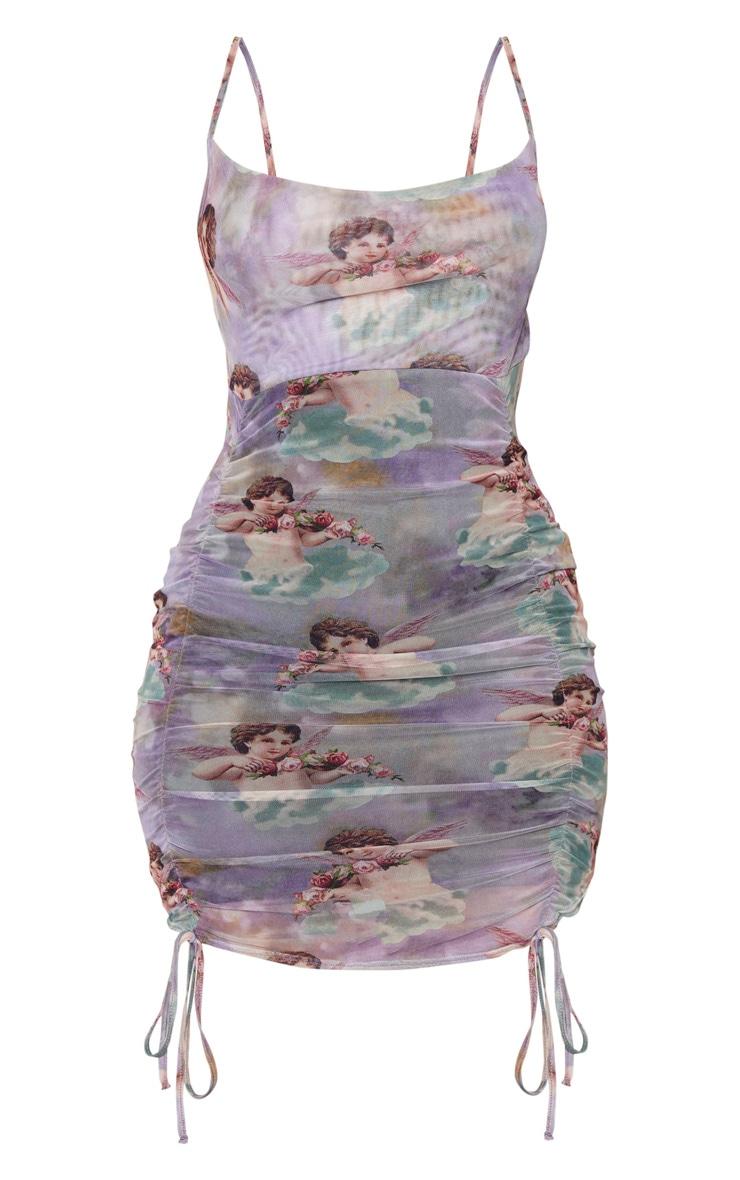 Robe moulante froncée à imprimé Renaissance multicolore et bretelles  5
