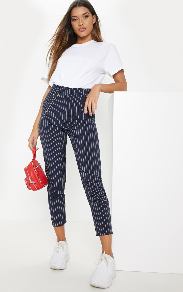 Navy Pinstripe Chain Detail Slim Leg Pants 1