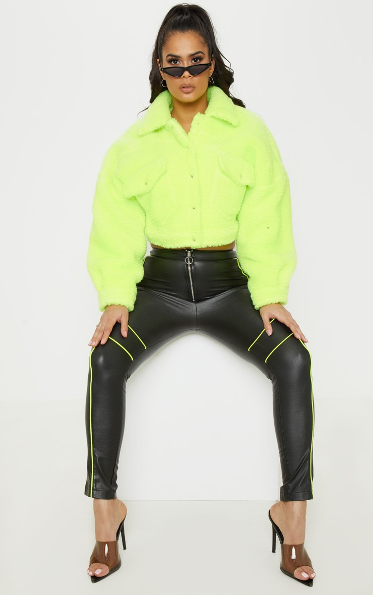 Neon Green Borg Cropped Trucker Jacket  4