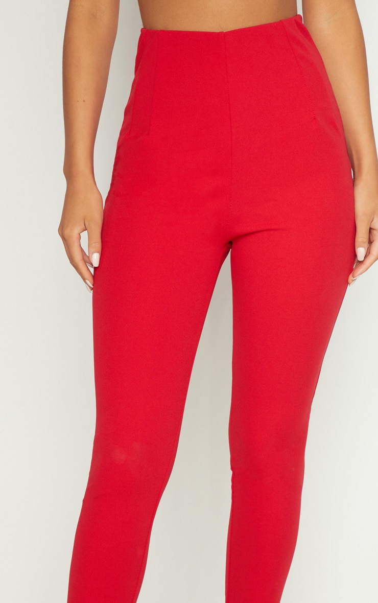 Red High Waisted Pleated Front Detail Trouser 4