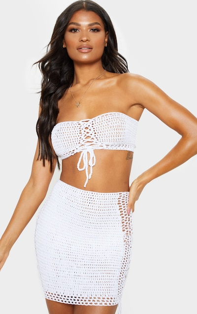 Cream Crochet Knitted Lace Front Bandeau