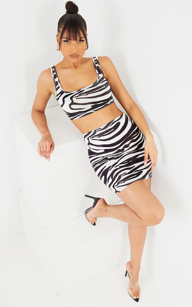 Black Zebra Print Slinky Mini Skirt