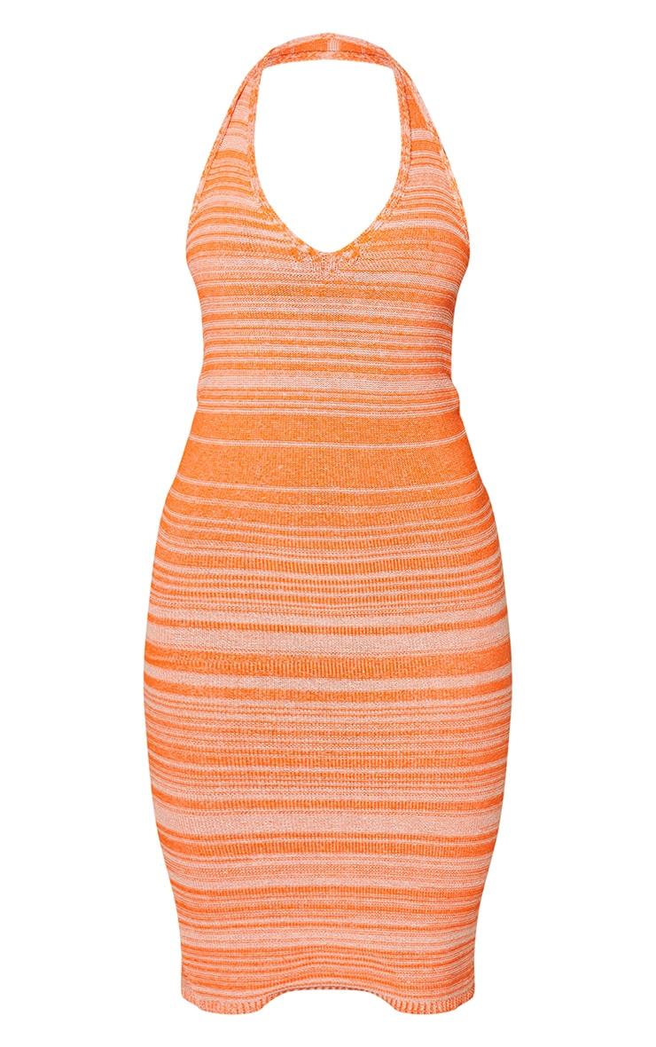 Orange Knitted Two Tone Halter Neck Midi Dress 5