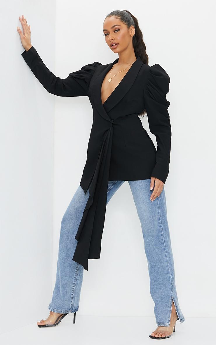 Black Woven Lapel Side Button Puff Sleeve Blazer 1