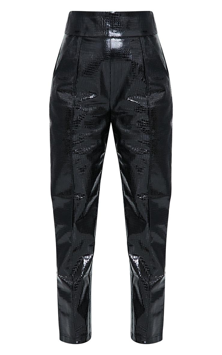 Petite Black Croc PU Straight Leg Pants 5