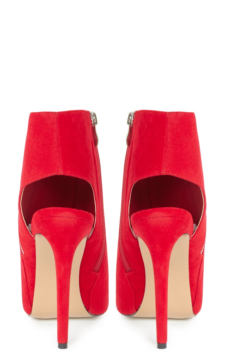 Lola Red Peep Toe Cut Out Ankle Boot 3
