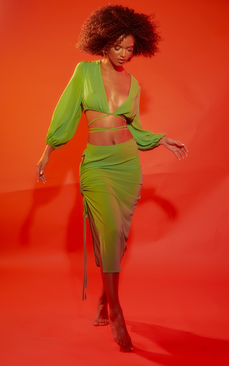Apple Green Cut Out Ruched Side Beach Skirt 1