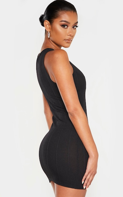 Black Bandage Rib Sleeveless Bodycon Dress
