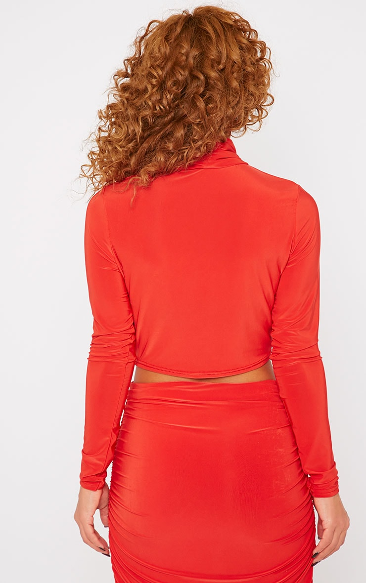 Saylor Red Slinky Turtle Neck Crop Top 2