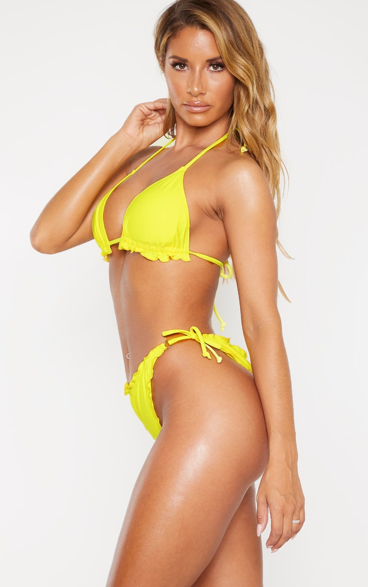 Yellow Frill Edge Ruched Back Bikini Bottoms 2