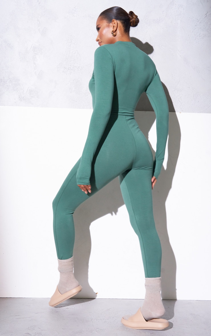 RENEW PRETTYLITTLETHING Green Long Sleeve Catsuit 2