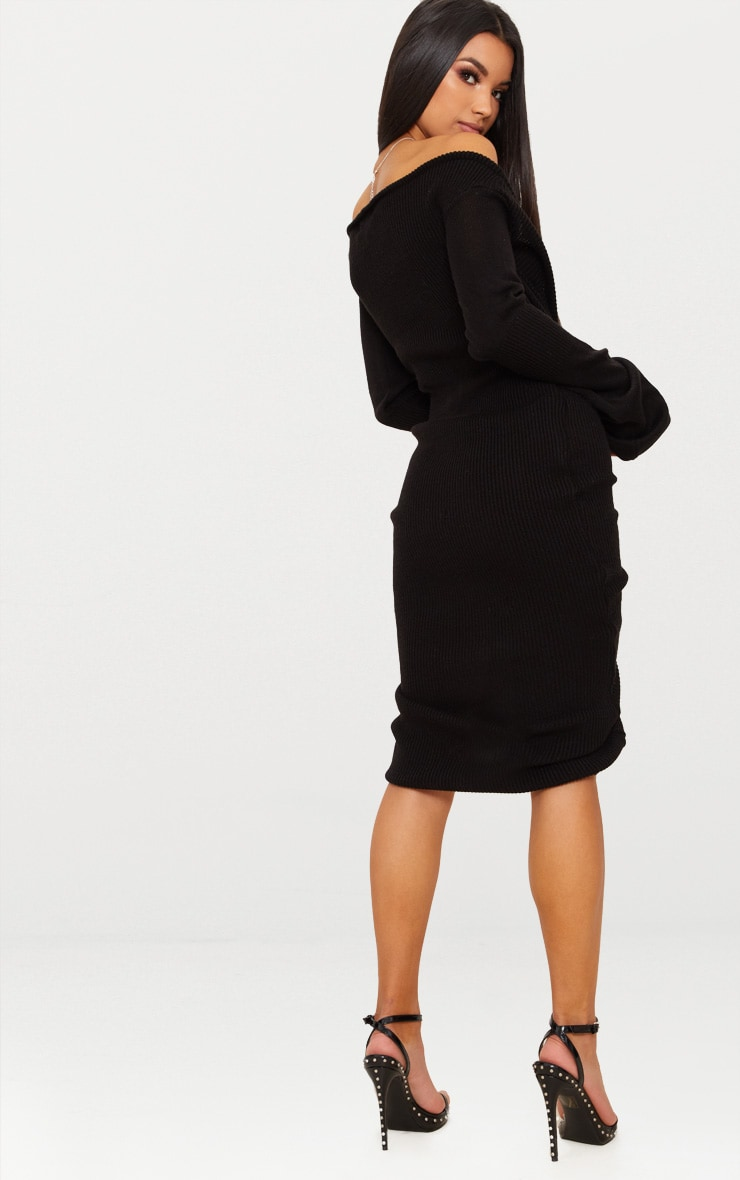 Black Ruched Knit Extreme Sleeve Midi Dress 2
