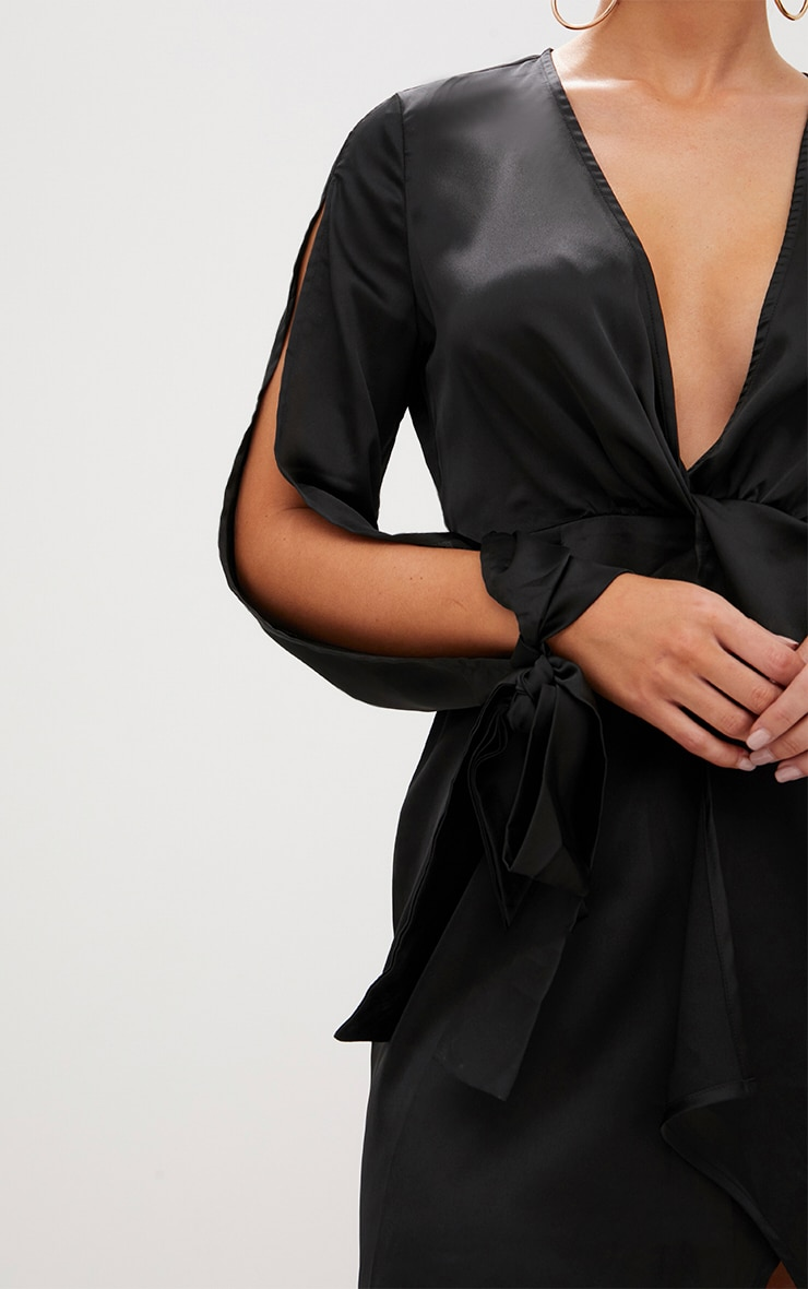 Black Open Arm Knot Front Tie Sleeve Shift Dress  4
