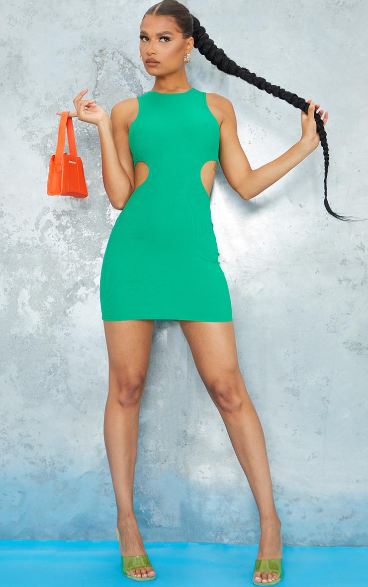 Green  Ribbed Sleeveless Cut Out Waist Bodycon Dress 1