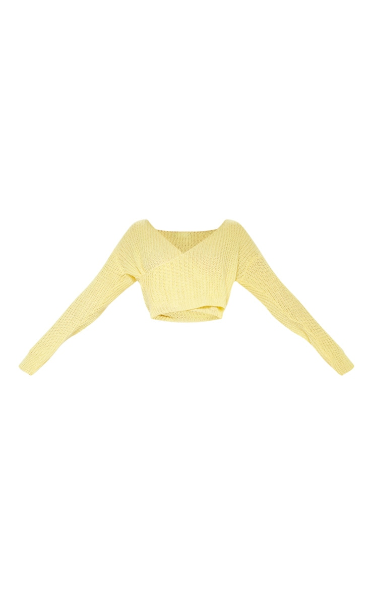 Lemon Laguna Wrap Front Knitted Top 3