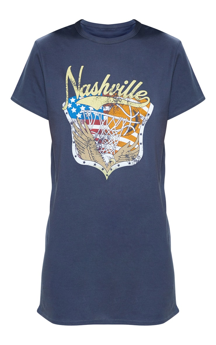 Charcoal Nashville Slogan Oversized Washed T Shirt Dress 3