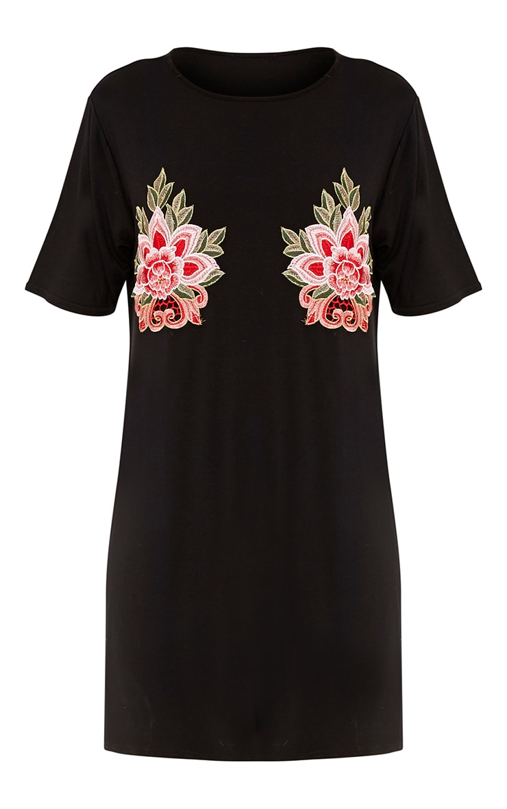 Kailey Black Applique Detail T Shirt Dress 3