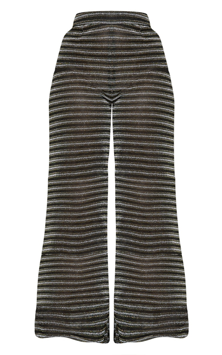 Black Glitter Stripe Wide Leg Trouser 4